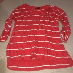 Salmon and white striped long sleeve